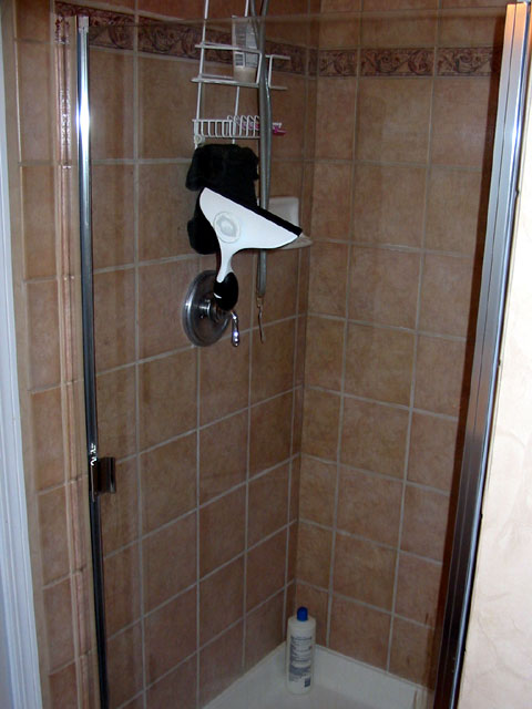 standing shower in the master bathroom